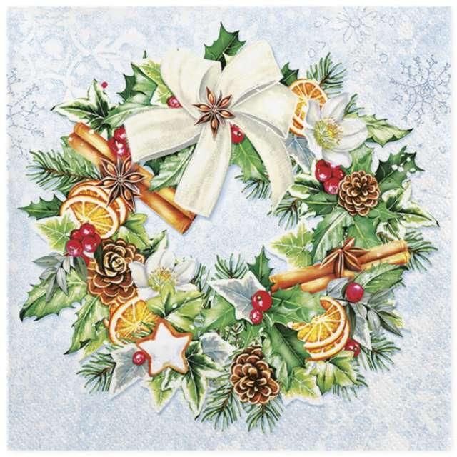 """Serwetki """"Malowany świąteczny wieniec"""", Maki, 33 cm, 20 szt"""