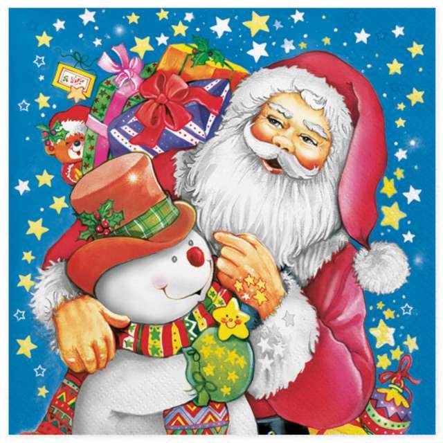 """Serwetki """"Malowany Św. Mikołaj i bałwan"""", Maki, 33 cm, 20 szt"""
