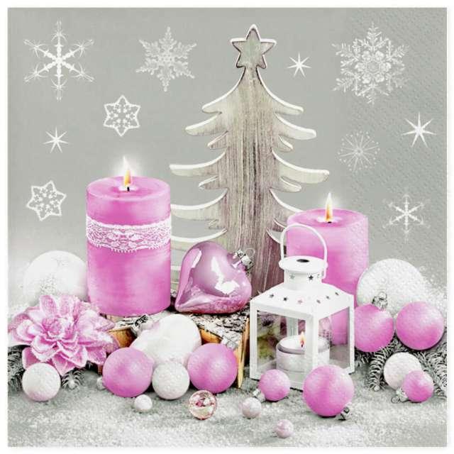 """Serwetki """"Świąteczna różowa kompozycja"""", Maki, 33 cm, 20 szt"""