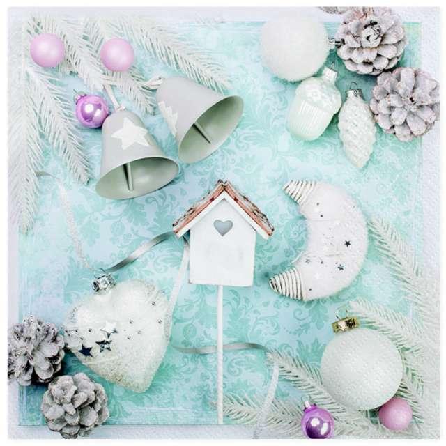 """Serwetki """"Pastelowe świąteczne dekoracje"""", Maki, 33 cm, 20 szt"""