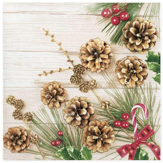 Serwetki Świąteczne gałązki modrzewia i sosny Maki 33 cm 20 szt