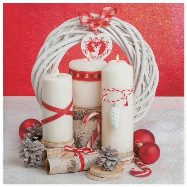 """Serwetki """"Białe świece na czerwonym tle i wieniec"""", Maki, 33 cm, 20 szt"""
