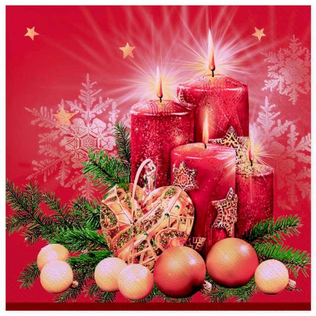 """Serwetki """"Czerwone świece i dekoracja"""", Maki, 33 cm, 20 szt"""