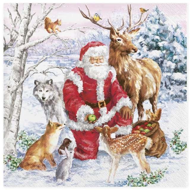 """Serwetki """"Święty Mikołaj i leśne zwierzęta"""", Maki, 33 cm, 20 szt"""