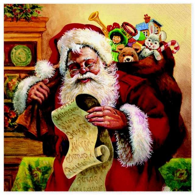 """Serwetki """"Święty Mikołaj sprawdzający listę"""", Maki, 33 cm, 20 szt"""