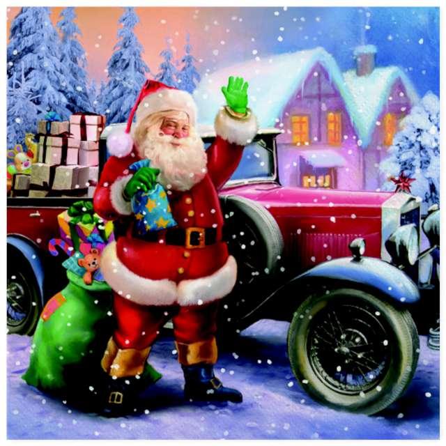 """Serwetki """"Święty Mikołaj i zabytkowy samochód"""", Maki, 33 cm, 20 szt"""