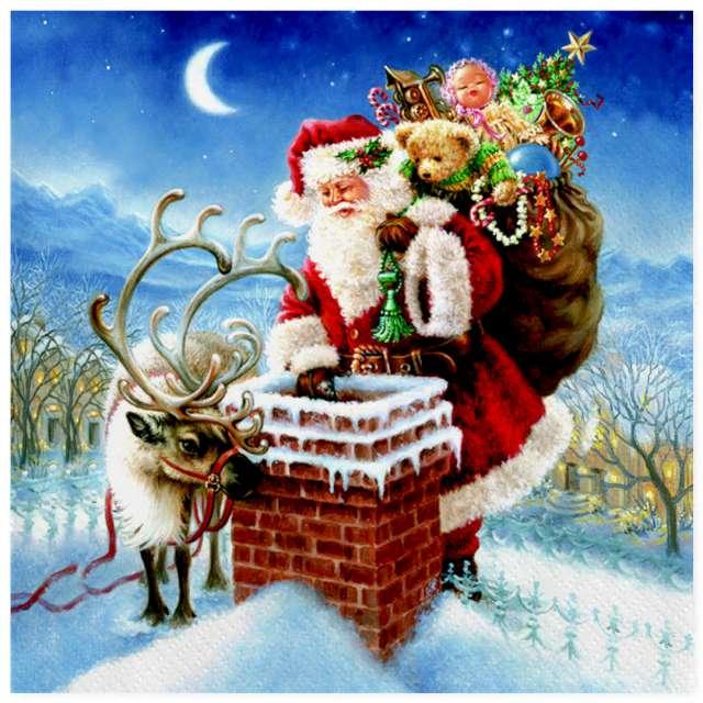 """Serwetki """"Święty Mikołaj w kominie"""", Maki, 33 cm, 20 szt"""