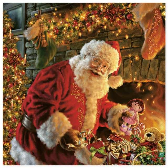 """Serwetki """"Święty Mikołaj przy kominku"""", Maki, 33 cm, 20 szt"""