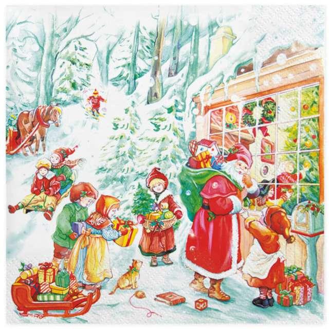 """Serwetki """"Święty Mikołaj i dzieci"""" , Maki, 33 cm, 20 szt"""