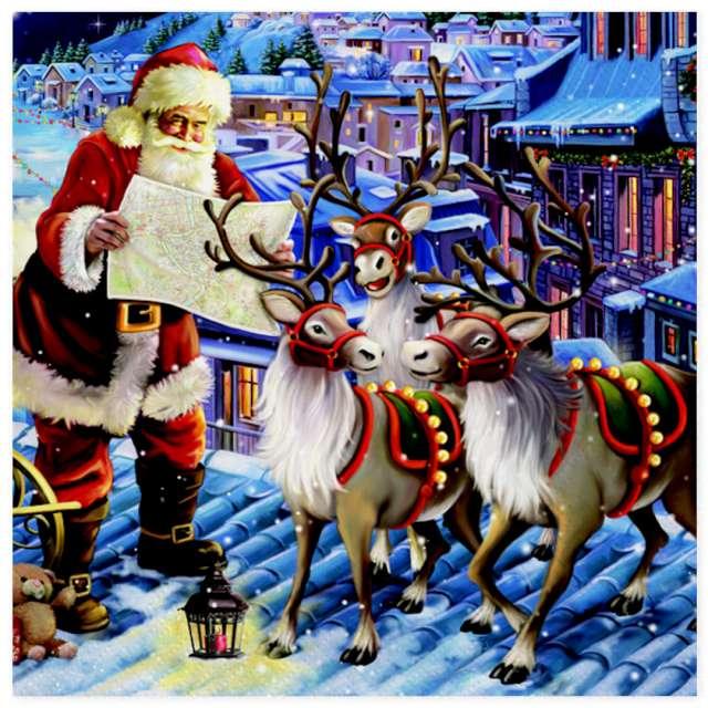 Serwetki Święty Mikołaj z reniferami na dachu Maki 33 cm 20 szt