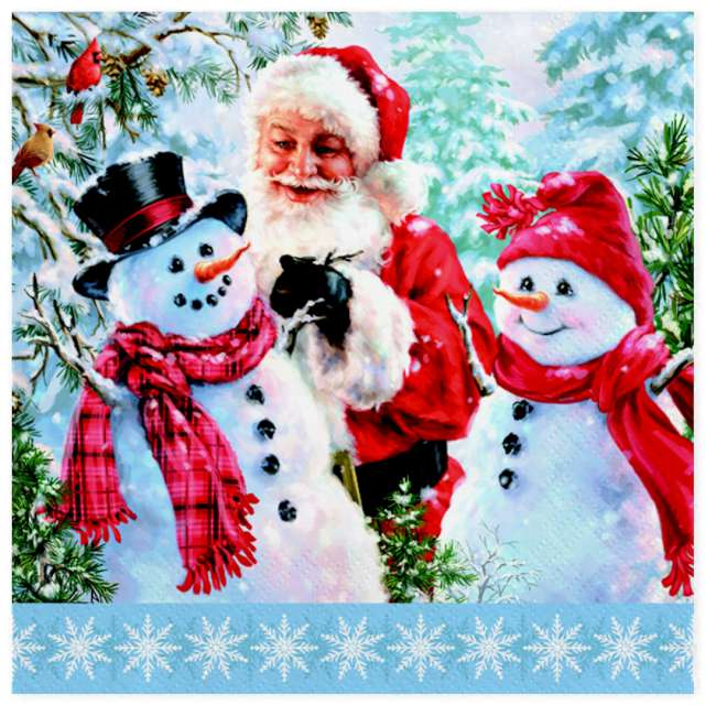 Serwetki Święty Mikołaj i dwa bałwany Maki 33 cm 20 szt