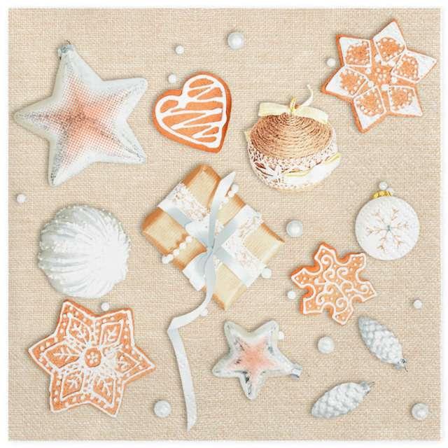 """Serwetki """"Świąteczny zestaw kremowych dekoracji"""" , Maki, 33 cm, 20 szt"""