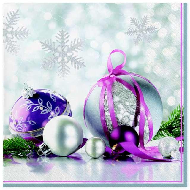 """Serwetki """"Srebrno-fioletowe ozdoby świąteczne"""", Maki, 33 cm, 20 szt"""