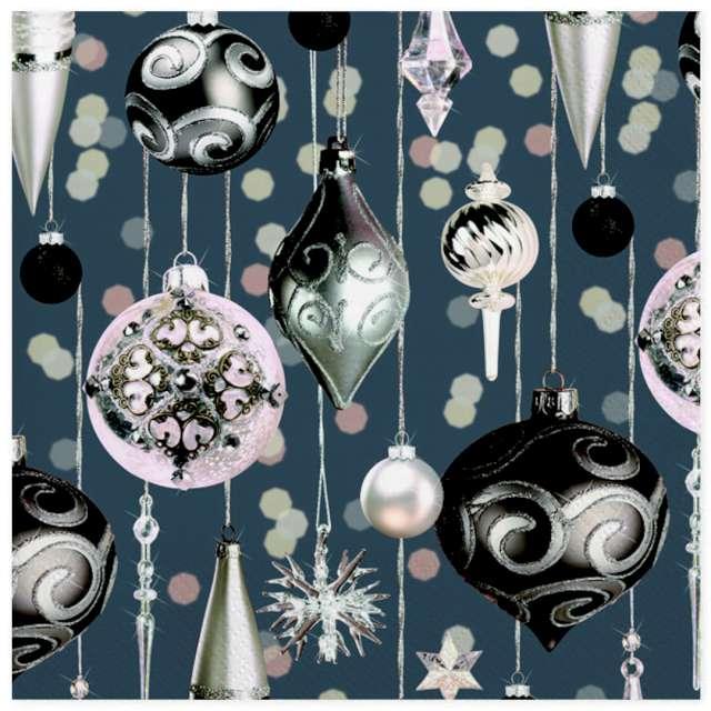 """Serwetki """"Serwetki srebrno różowe ozdoby świąteczne"""", Maki, 33 cm, 20 szt"""