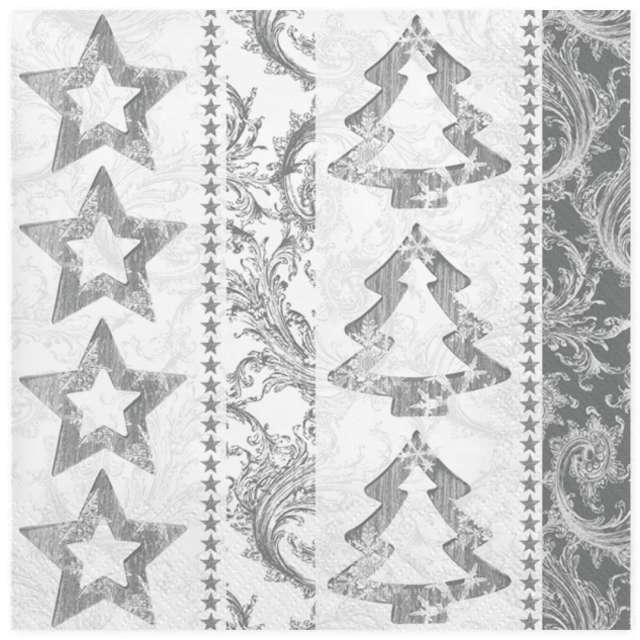 """Serwetki """"Świąteczne srebrne gwiazdki i choinki"""", Maki, 33 cm, 20 szt"""