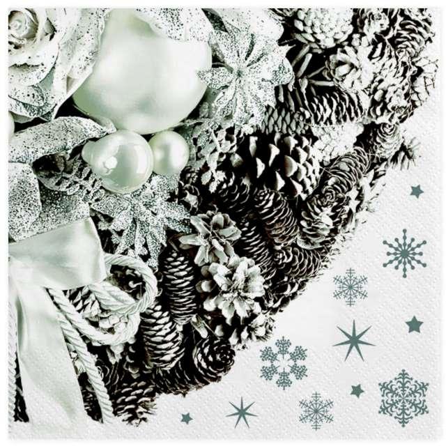 """Serwetki """"Srebrna bożonarodzeniowa dekoracja"""", Maki, 33 cm, 20 szt"""