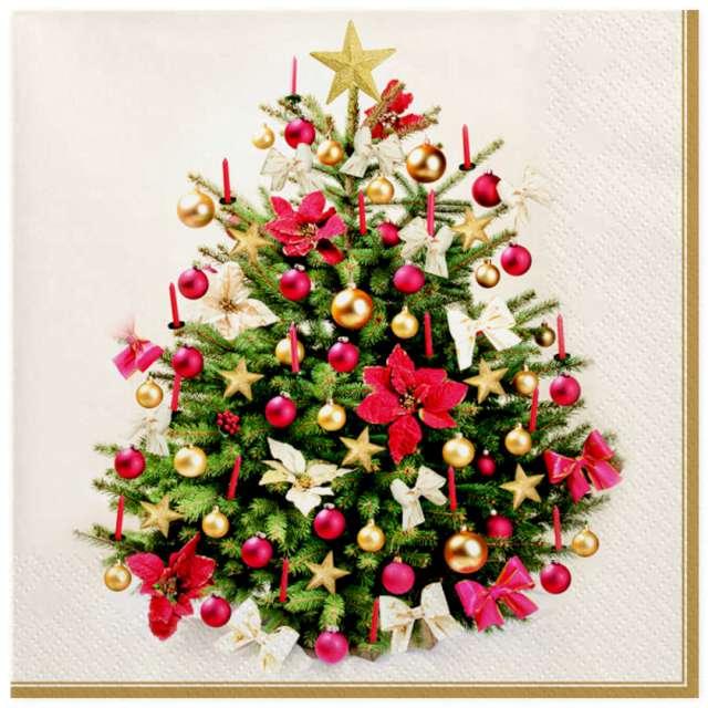 Serwetki Tradycyjne drzewko świąteczne Maki 33 cm 20 szt