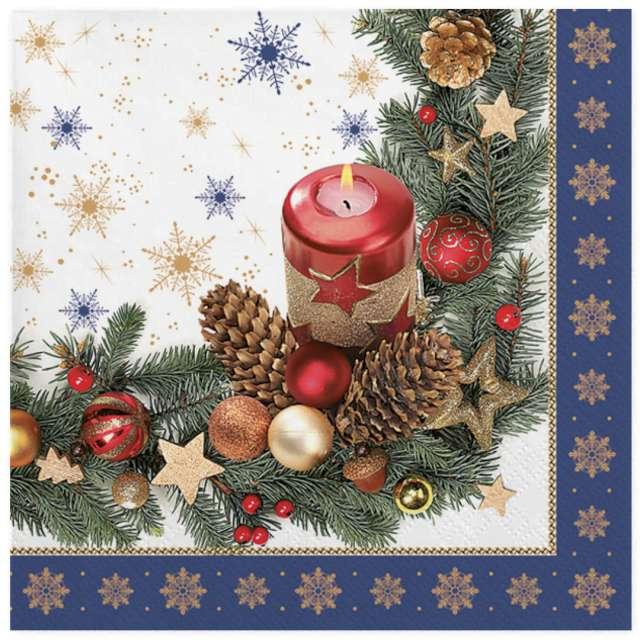 """Serwetki """"Tradycyjne motywy świąteczne w niebieskiej ramce"""", Maki, 33 cm, 20 szt"""