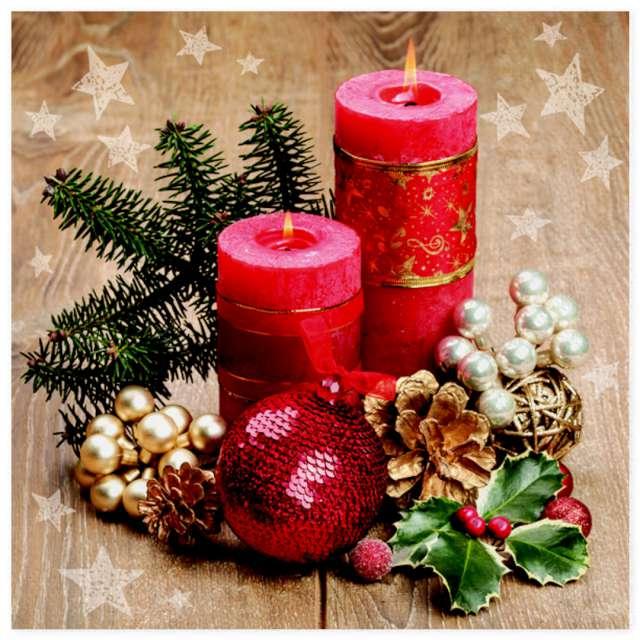 """Serwetki """"Stroik świąteczny z dwiema czerwonymi świecami"""", Maki, 33 cm, 20 szt"""