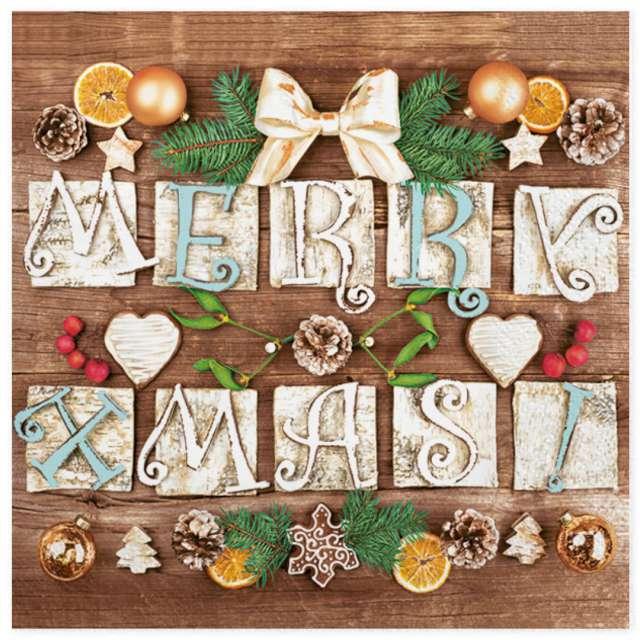 Serwetki Świąteczne - Merry Xmas! Maki 33 cm 20 szt