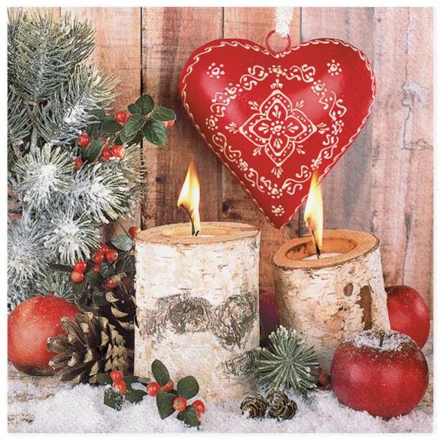 """Serwetki """"Świąteczny stroik z sercem"""", Maki, 33 cm, 20 szt"""
