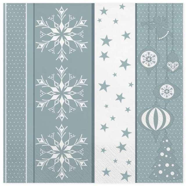 """Serwetki """"Srebrno biały wzór świąteczny"""", Maki, 33 cm, 20 szt"""