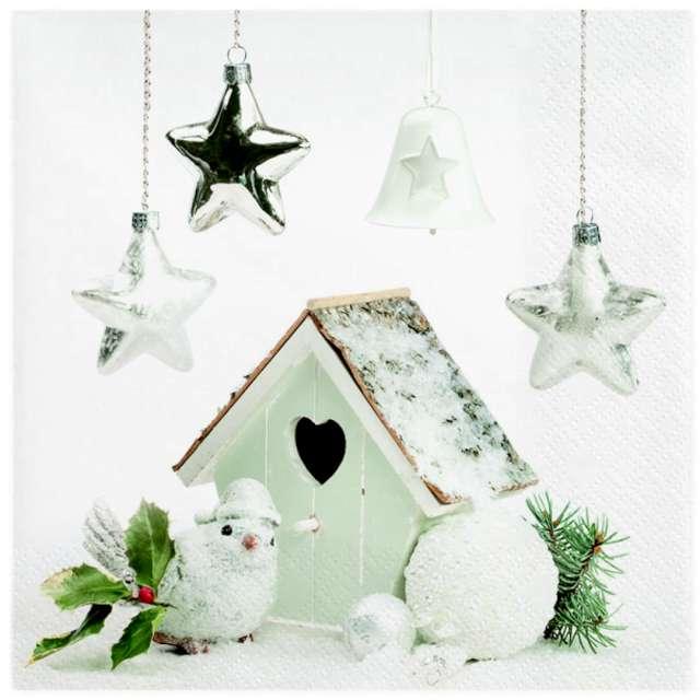 Serwetki Świąteczna dekoracja z karmnikiem dla ptaków Maki 33 cm 20 szt