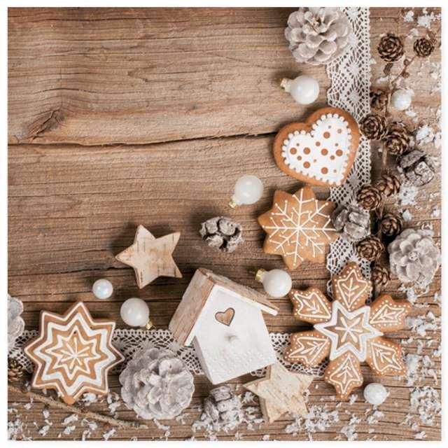 """Serwetki """"Zimowe dekoracje na tle drewna"""", Maki, 33 cm, 20 szt"""