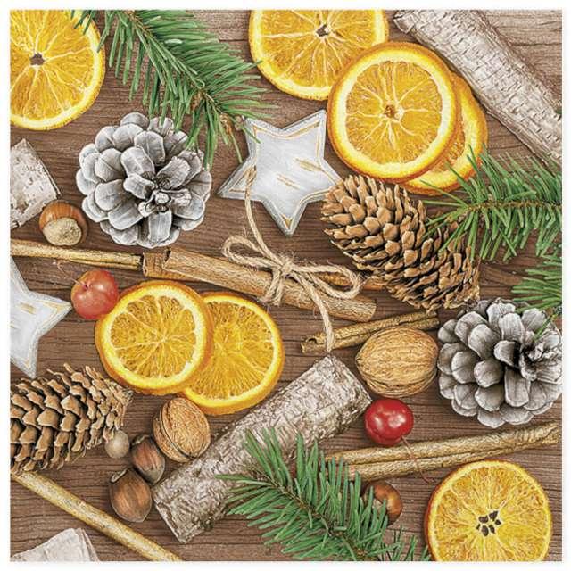 """Serwetki """"Zimowe dekoracje z cynamonem i orzechami"""", Maki, 33 cm, 20 szt"""