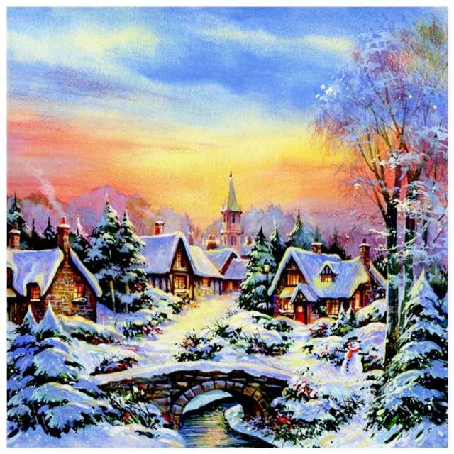 """Serwetki """"Zimowy zachód słońca na wsi"""", Maki, 33 cm, 20 szt"""
