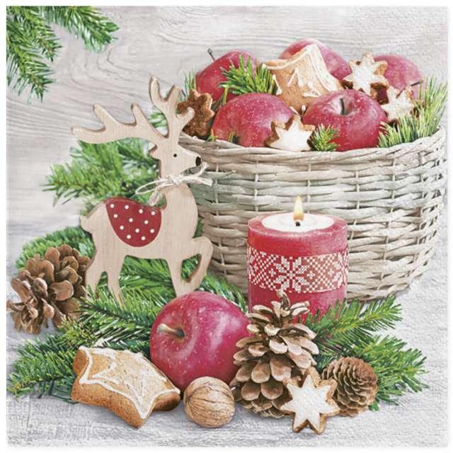 """Serwetki """"Świąteczny kosz z jabłkami"""", Maki, 33 cm, 20 szt"""