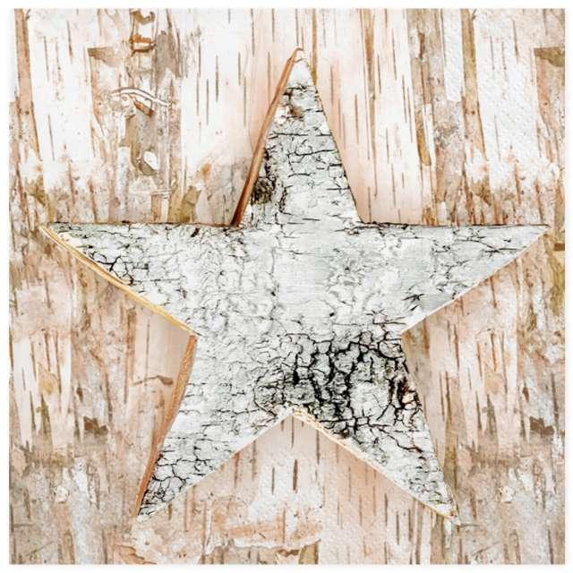 """Serwetki """"Świąteczna drewniana gwiazda"""", Maki, 33 cm, 20 szt"""