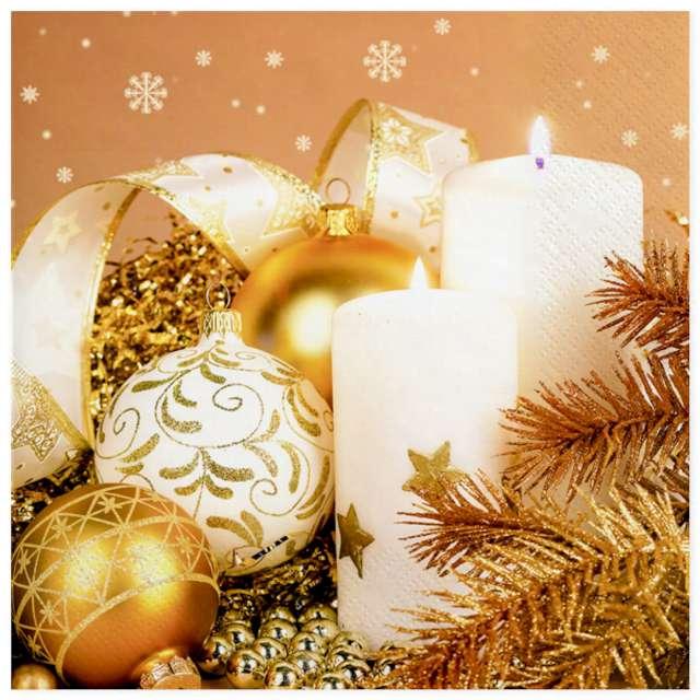 """Serwetki """"Świąteczna aranżacja w złocie"""", Maki, 33 cm, 20 szt"""