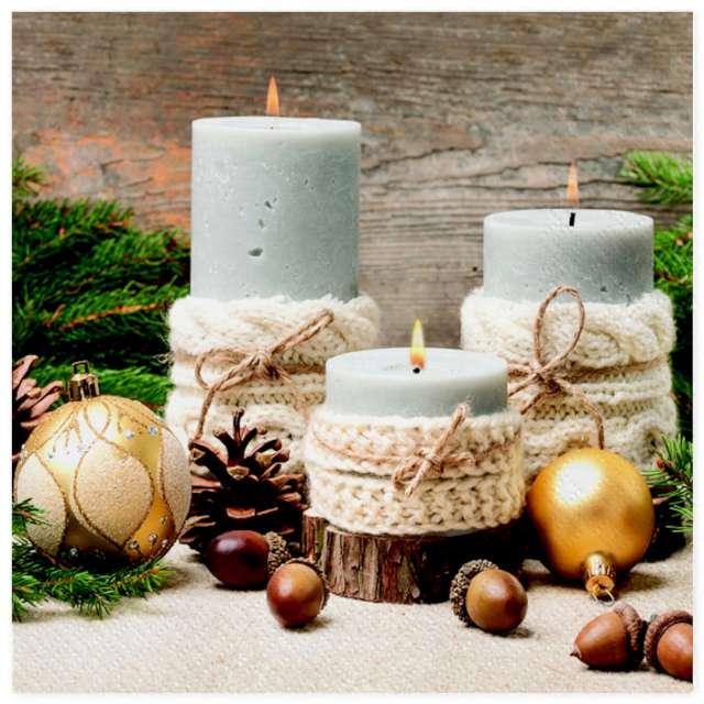 Serwetki Świece świąteczne w sweterku Maki 33 cm 20 szt