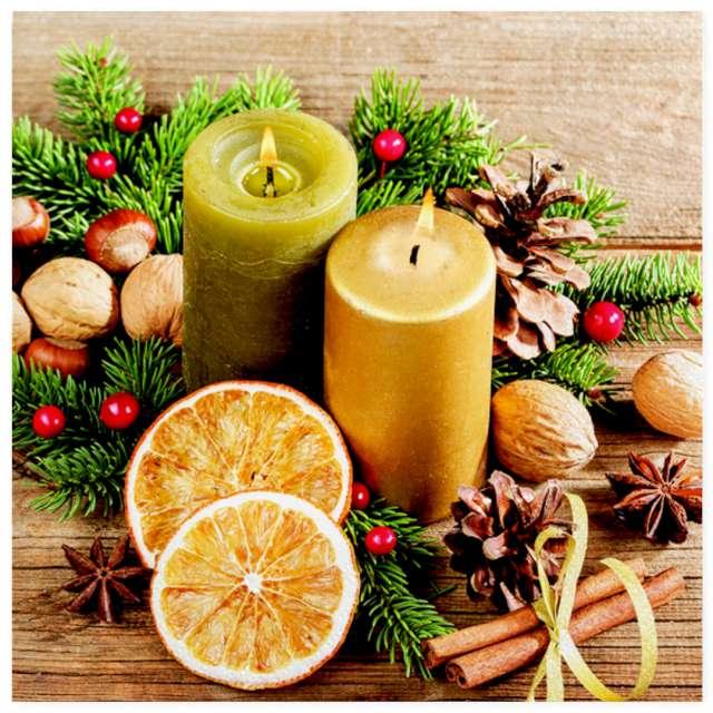 """Serwetki """"Świąteczna kompozycja ze świecami i orzechami"""", Maki, 33 cm, 20 szt"""