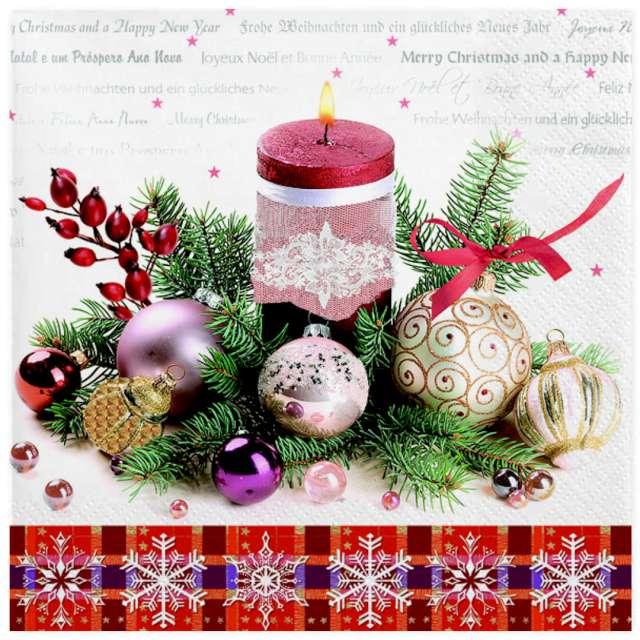 """Serwetki """"Świąteczna dekoracja z czerwoną świecą"""", Maki, 33 cm, 20 szt"""