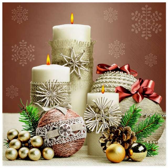 """Serwetki """"Świąteczna kompozycja ze świecami"""", Maki, 33 cm, 20 szt"""
