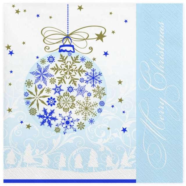 """Serwetki """"Bombka złoto-niebieska z płatków śniegu"""", Maki, 33 cm, 20 szt"""