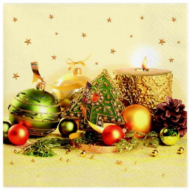 """Serwetki """"Świąteczne dekoracje złoto-zielone"""", Maki, 33 cm, 20 szt"""