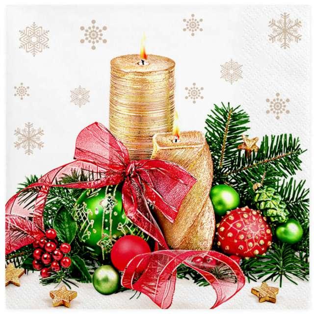 Serwetki Świąteczne złote świeczki z dekoracją Maki 33 cm 20 szt