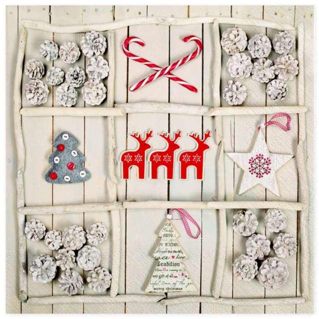 Serwetki Boże Narodzenie ręcznie robione dekoracje Maki 33 cm 20 szt