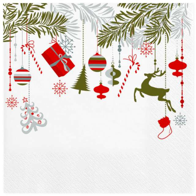 """Serwetki """"Świąteczne dekoracje wiszące"""", Maki, 33 cm, 20 szt"""
