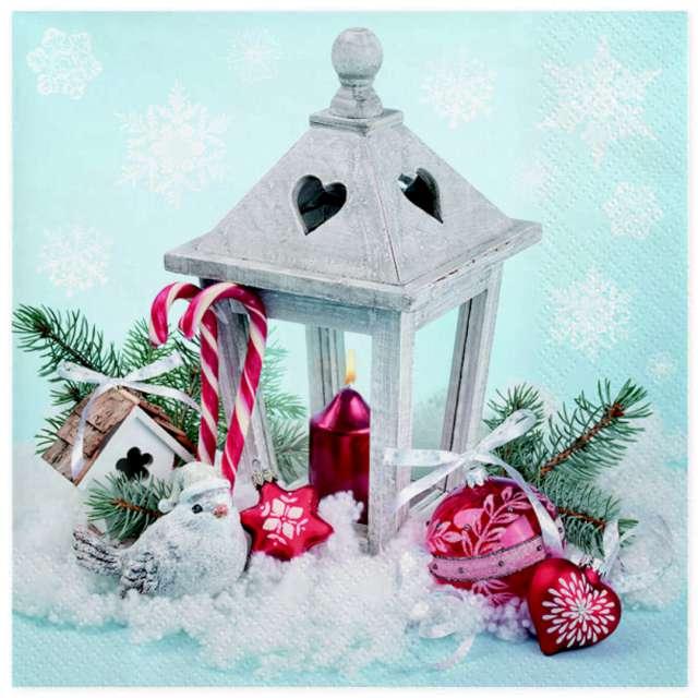 """Serwetki """"Świąteczna latarnia na śniegu"""", Maki, 33 cm, 20 szt"""