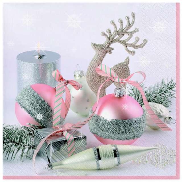"""Serwetki """"Świąteczne dekoracje różowo-srebrne"""", Maki, 33 cm, 20 szt"""