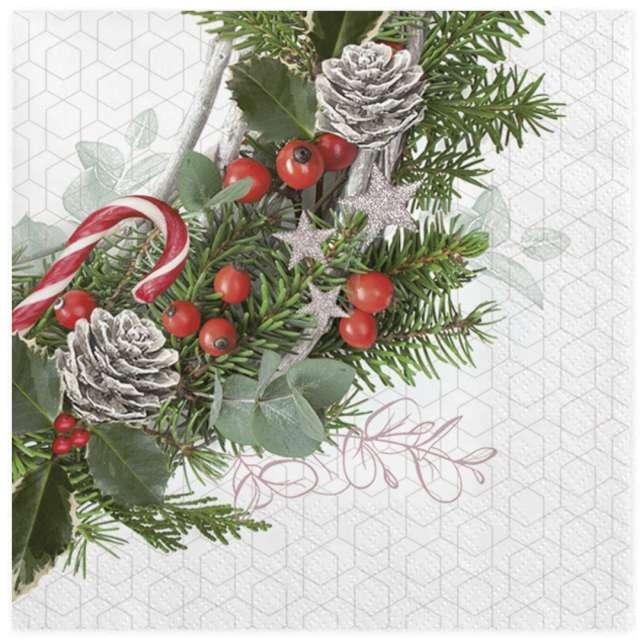 """Serwetki """"Wianek świąteczny na geometrycznym tle"""", Maki, 33 cm, 20 szt"""