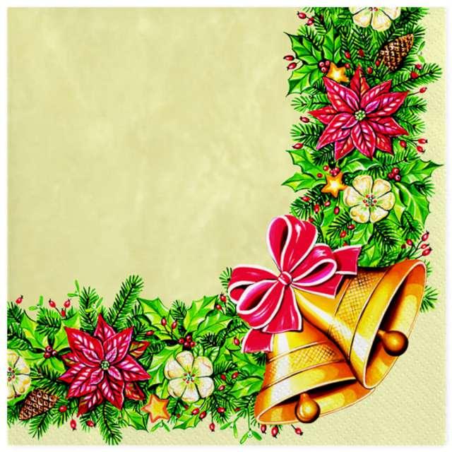 Serwetki Wianek świąteczny z dzwonkami Maki 33 cm 20 szt