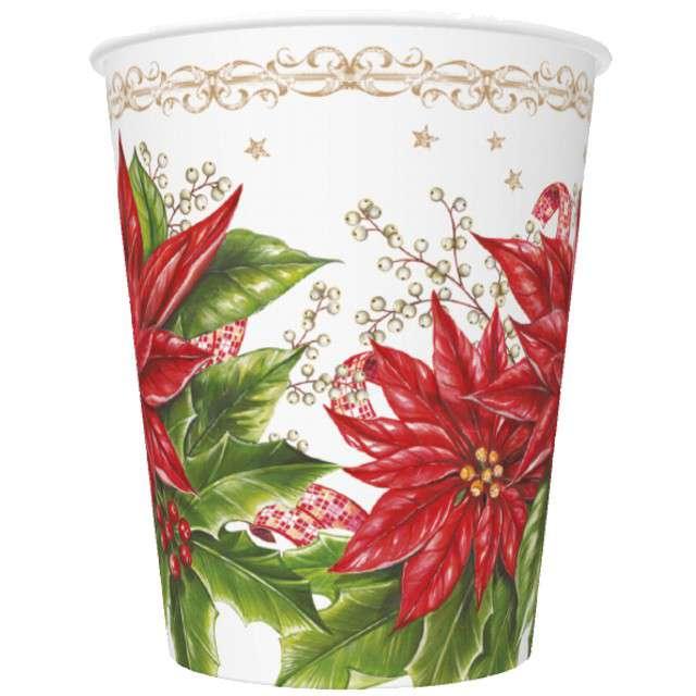 Kubeczki Świąteczna Poinsecja Maki 250 ml 8szt