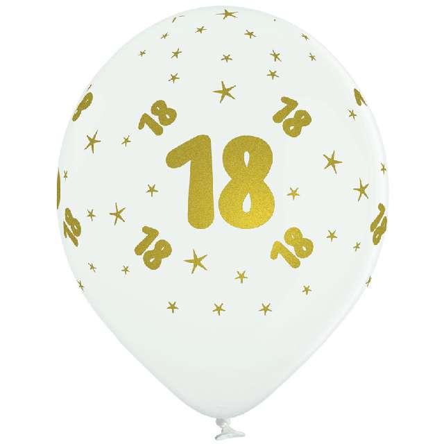 _xx_B-Balloons Balon biały z nadr. 18 złoty (5pcs