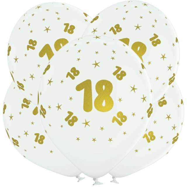 "Balony lateksowe ""Gold 18"", białe, Grabo, 12"", 5 szt"