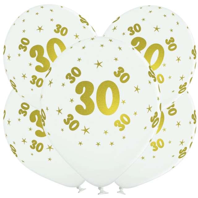 "Balony lateksowe ""Gold 30"", białe, Grabo, 12"", 5 szt"